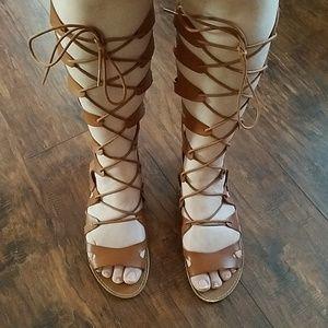 Brown Lace Up Gladiators Sandals